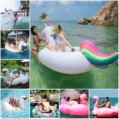 Online discount shop Australia - inflatable Unicorn Giant Pool Float Swimming Float for Adult Tube Raft Kid Swim Ring Water Fun Pool Toy 275*110*130CM