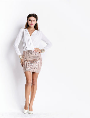 Online discount shop Australia - Missord Sexy v-neck long- sleeve sequins dress FT3807