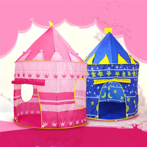 Portable Blue Pink Prince Folding Tent Kids Children Boy Castle Cubby Play House For Kids Best Gift