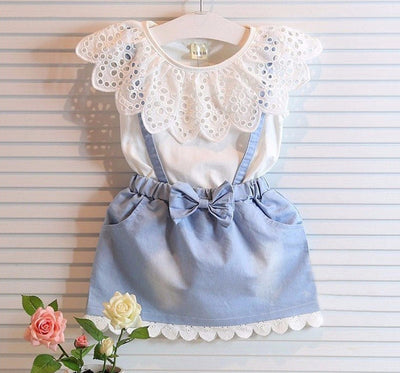 Online discount shop Australia - Girls Dresses New girls cute dress,white belt denim dress sleeveless cotton dress lovely girls clothes