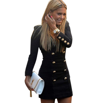 Plus Size Women Slim Long Sleeve Buttoned Casual Cocktail Bandage Bodycon Club Mini Dress vestidos