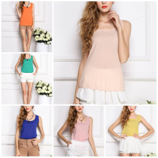 Online discount shop Australia - 6 SIZES  women blouses camisole chiffon vest top female sleeveless basic solid tops