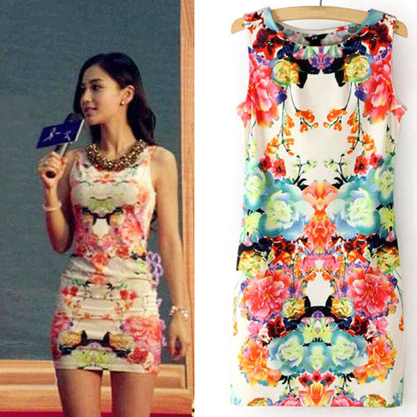 Online discount shop Australia - 2015 New Fashion Women Floral Print Sleeveless Clubwear Party Summer Sexy Dress