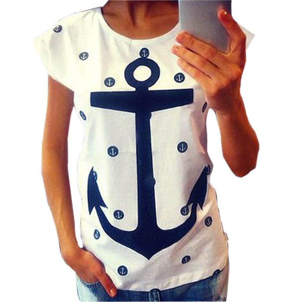 Style Women Lady Letter Print Anchor Slim Cotton Casual Shirts Tops T Shirts