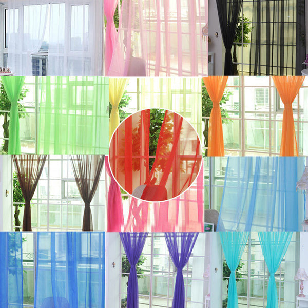 Online discount shop Australia - Fashion Colorful Solid Floral Tulle Voile Door Window Curtain Drape Panel Valances Scarf Divider New