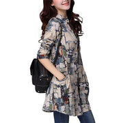 Women Shirts Linen Women Tops Long Sleeve Shirt Women Tribal Print Blouses Long Tunic Tops Female Clothing