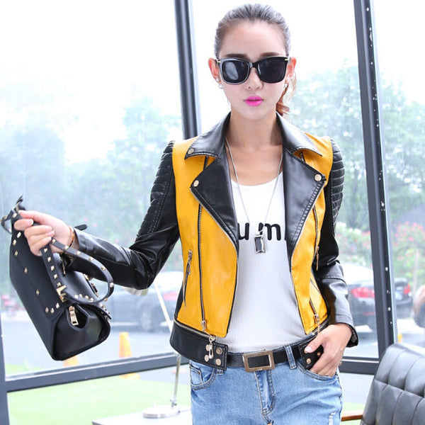 Online discount shop Australia - 6 sizes PU women leather motorcycle jacket patchwork color zippr design women PU leather outerwear coat S-3XL