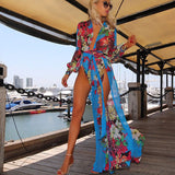 Stylish Bohemian Style Summer Chiffon Beach Party High Split Maxi Long Dress Sexy Women Deep V-Neck Floral Dress Vestidos