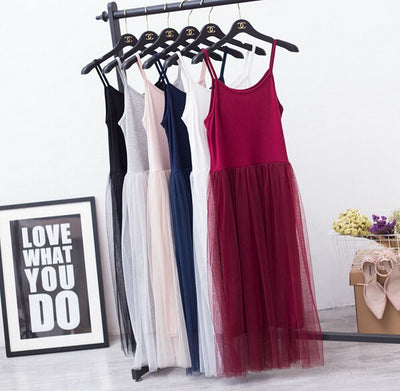 Online discount shop Australia - Modal spaghetti strap patchwork mesh gauze organze lace tank dress basic sundress