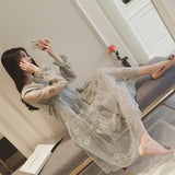 Online discount shop Australia - Dress Korean Fashion Ladies Crochet Organza Long Dresses Casual Pregnant Women Dress Plus Size