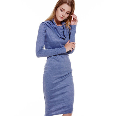 Online discount shop Australia - Hot Shoulder Off Autumn Dress Blue Women Vestidos Long Sleeve Knitting Sexy Dress Vestido De Festa Bodycon Slim Winter Dress