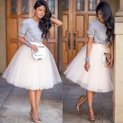 880b9bfb9a5 Puff Women Chiffon Tulle Skirt White Black High waist Midi Knee Length  Chiffon plus size Female