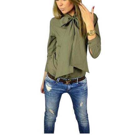 Online discount shop Australia - Fashion Women Blouse Work Shirt Solid Color Casual Slim Big Bowknot Shirts  Tops