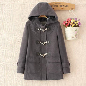 Online discount shop Australia - Duffle Coat Long Turn Down Horn Button Hooded Collar Woolen Overcoat Wide Waisted manteau  Out Wear   coats