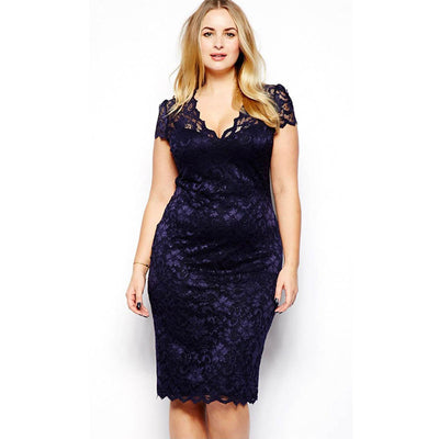 Plus Size Sexy Women Ladies Hollow Out Lace Stretch Bodycon Pencil Dress V-Neck Dress