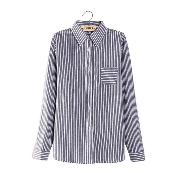 Online discount shop Australia - Colorful Apparel Formal Blouses Long Sleeve Button Down Women's Shirt Vertical Striped Cotton Pocket Career Tops