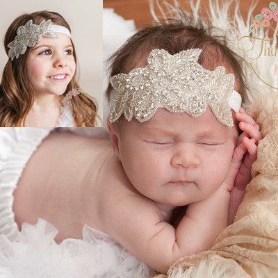 Online discount shop Australia - Cute Kids Baby Girls headbands Rhinestone flowers with leaves Headbands children hair accessories td23