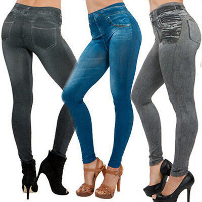 NEW Sexy Women Jean Skinny Jeggings Stretchy Slim Leggings Fashion Skinny PantsGrayOne Sizea