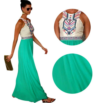 New Style Vogue Women Boho Floral Print Sleeveless Long Maxi Dresses Vintage