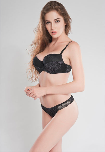 Online discount shop Australia - Big Size 36 38 40 DD DDD E F Cup Black Intimate Lingerie Set Lace Floral Underwear Bra Sets Push Up Bra and Panty Set For Secret