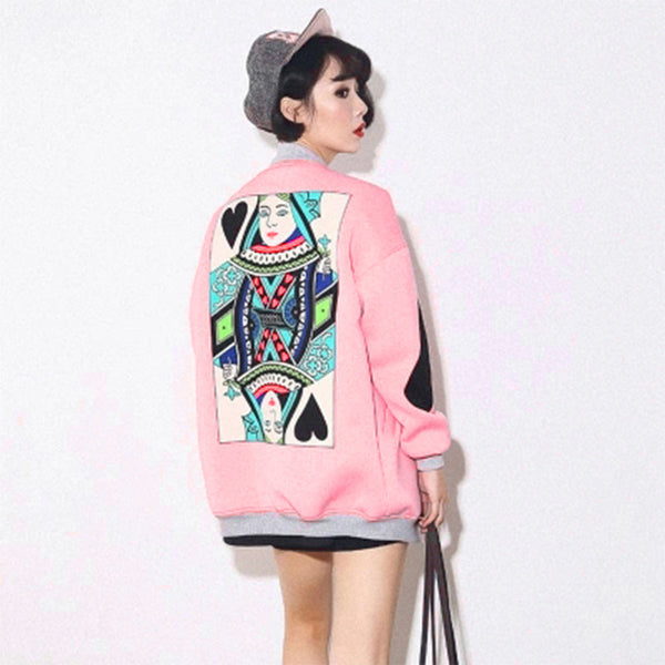 Fashion Pink Black College Baseball Jacket Women Quilted Style Ladies Floral Casual Outwear A138