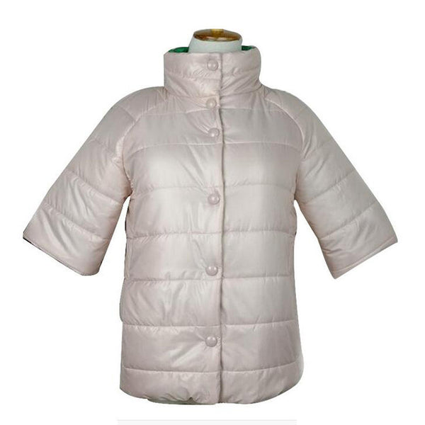 Online discount shop Australia - Fashion Half Sleeve Stand Collar Parkas &Coat for  Women with Hollow Cotton Inside