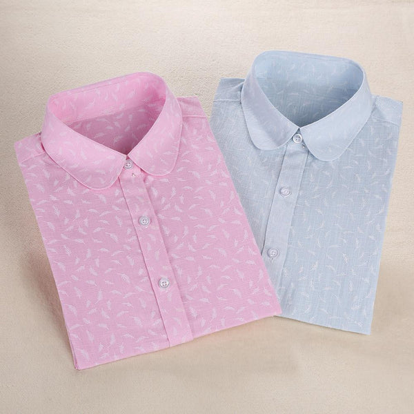 Women Cotton Linen Blouse Turn-down Collar Long Sleeve Printed Shirts Women Tops And Blouses New Fashion Clothings