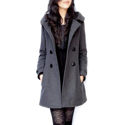Online discount shop Australia - coat long coats  women jacket female Blends woolen warm overcoat  plus size ladies black Clothing 4XL 5XL 6XL