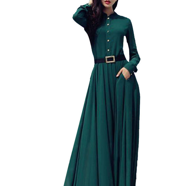 Online discount shop Australia - Beach Dress Women Long Sleeve Maxi Dress Vintage Clubwear Elegant Long Dress DS-166