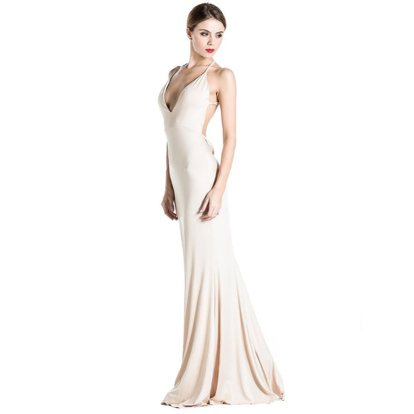 Online discount shop Australia - Free shoping Missord Sexy v-neck halter dress party dress vestidos FT1876