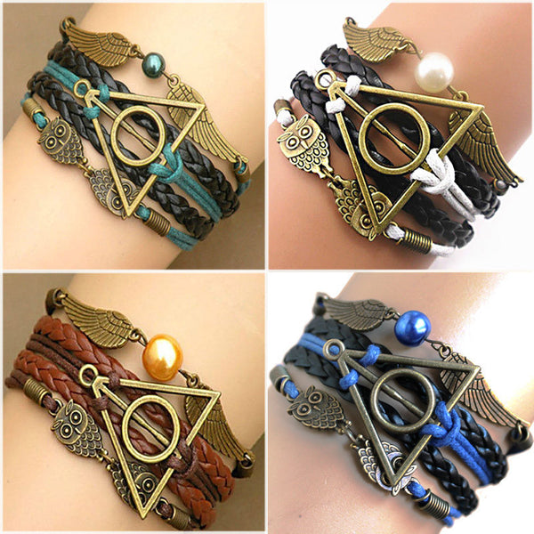 Online discount shop Australia - Harry Multilayer Braided Bracelets Vintage Owl Deathly Hallows wings Infinity Bracelet Bangle Gryffindor Slytherin