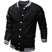Online discount shop Australia - Cool College Baseball Jacket Men Fashion Design Black Pu Leather Sleeve Mens Slim Fit Varsity Jacket Brand Veste Homme Xxl