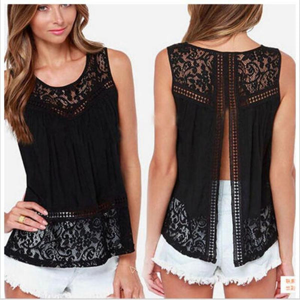 Women's Clothing Black Tops & Tees Tanks & Camis Fashion Vest Top Sleeveless Casual Hollow Out Lace Tank Tops Plus Size