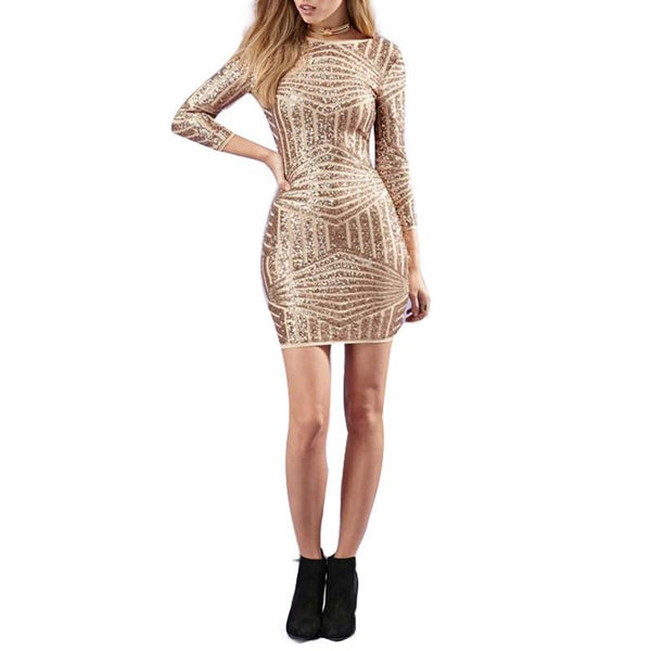 Womens Summer Fashion Mini Stripes Sequin Deep O Neck Backless Dresses