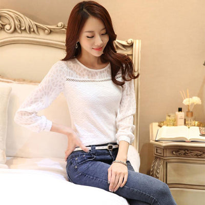 Casual Women Long Sleeve Lace Blouses White Elegant Female Shirt Plus Size Top
