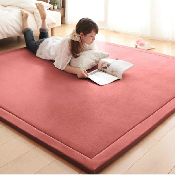 Online discount shop Australia - 2CM Thick Coral Fleece Mat Carpet 180*200*2CM Tatami Tea Table Manually Bedroom Carpet Rectangle Living Room Rug