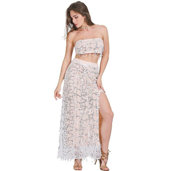 Simplee Apparel Off shoulder sequin tassel summer dress side split beach long dress party maxi dress women vestidos