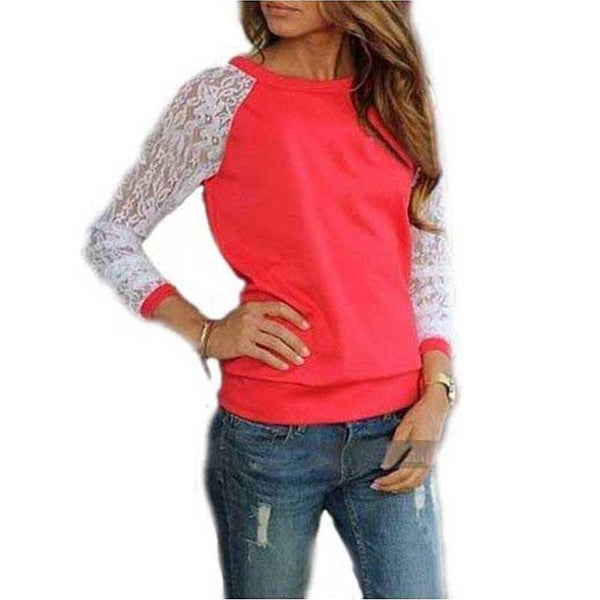 Women Hoodies Fashion Lace Patchwork Pullover Sweatshirt Suit Casual Hoodies