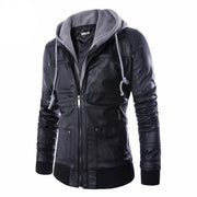 Plus Size 4XL Detachable Hooded Men Faux Leather Jacket Black Biker Motorcycle Mens PU Leather Coat Slim