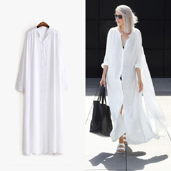 Summer Long Sleeves Shirt Dress Women Sides Slit Buttons Multi Way to Wear New Clothing Black White Fashion