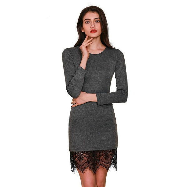 Online discount shop Australia - Elegant lace gray bodycon dress Christmas evening party long sleeve winter dress Women casual vestidos de fiesta