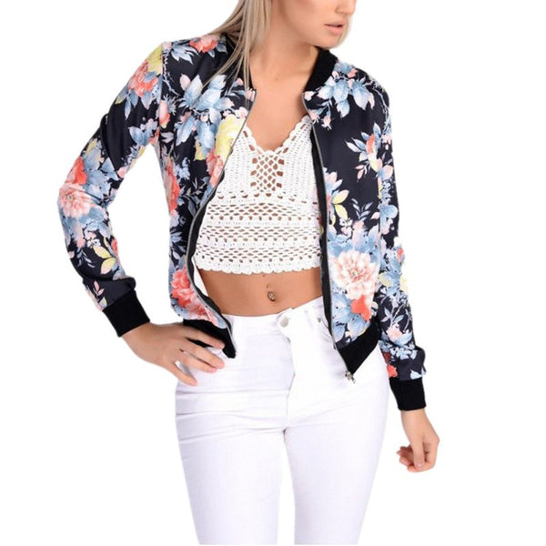 Online discount shop Australia - 6 Styles Women Jackets Short Tops Long Sleeve Floral Print Coat Vintage Women Clothing Bomber Jacket Chaquetas