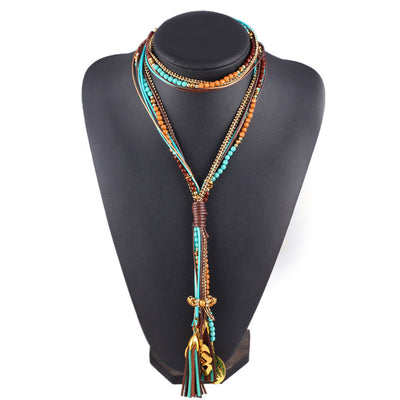 Online discount shop Australia - 17KM Maxi colar Facet Beads Necklaces For Women Multi layer Long Necklace Statement Jewelry