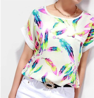 Women Chiffon Blouses Tops Ladies Loose Short Sleeve Feather Printed Blouse & Shirts  Plus Size