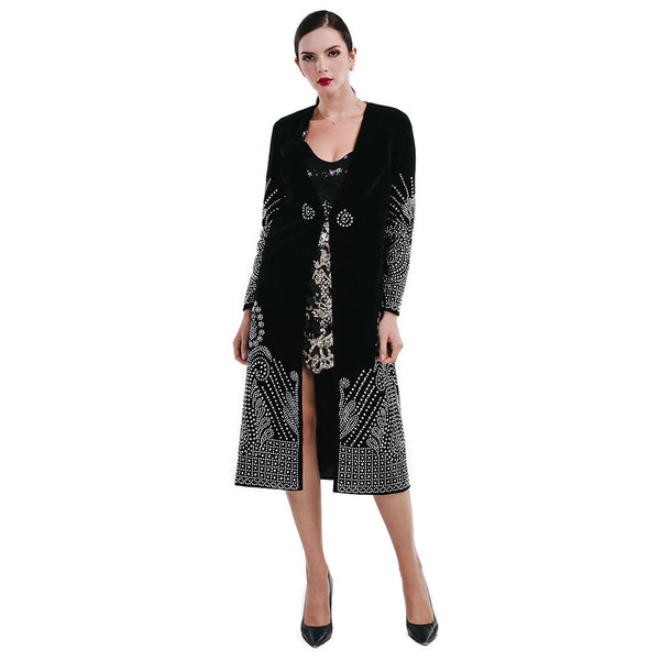 Online discount shop Australia - Missord Flash sexy V-necked long-sleeved silver color Rhinestone cloak jacket FT4689