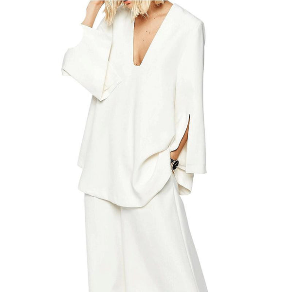 Women Fashion Sexy Plunge Neck Coat Long Sleeve Split Solid White Loose Coat Women Outwear