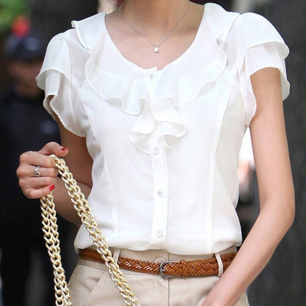 Ruffles Short Sleeve Chiffon Blouse Office Lady OL White Solid Bow Tie Female Loose Shirt Tops Plus Size S~5XL
