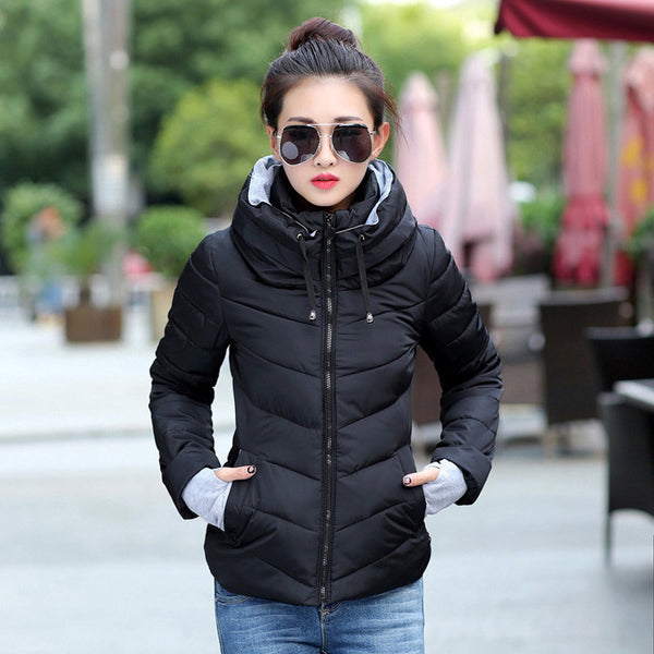 Online discount shop Australia - Jacket women Plus Size Womens Parkas Thicken Outerwear solid hooded Coats Short Female Slim Cotton padded basic tops