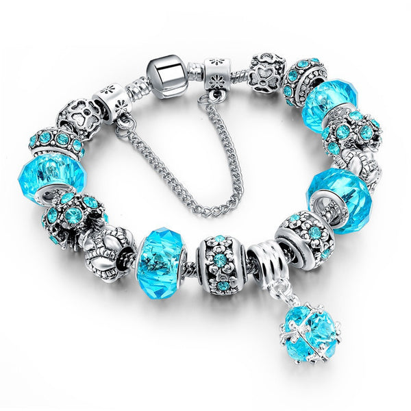 Online discount shop Australia - European Style Authentic Tibetan Silver Blue Crystal Charm Bracelet for Women Original DIY Beads Jewelry Christmas Gift