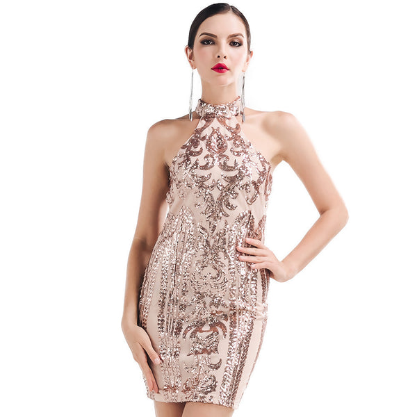 Online discount shop Australia - Missord Sexy O-neck sleeveless Retro pattern sequin dress FT4729